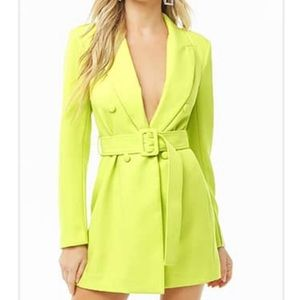 Belted double breasted mini blazer dress
